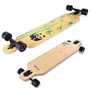 Lrfzhicg Drop Through Longboard 42 Inch Bamboo Downhill Cruiser Longboard Skateboards