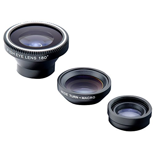 Patuoxun Lente Fisheye, Lente Grandangolo, Lente Marco, Fisheye Lens Kit per iPhone 5/5S/5C, iPhone 4/4S, Galaxy S2/S3/S4, HTC One M7 - Nero