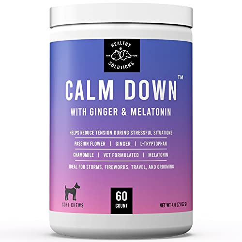 Calming Chews for Dogs - 60 Dog Calming Treats for Anxiety, Stress Relief Aid, Storms, Grooming, Fireworks, Separation, Travel, & Motion Sickness - Made in USA