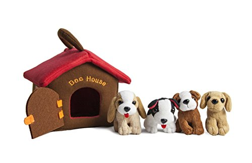 Plush Animals Sound Toys with Carrier | Plush Animal Toy Baby Gift | Toddler Gift (Puppy Dog House)