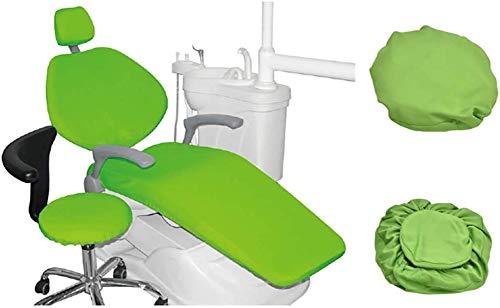 4 Piezas/Juego Silla Dental Cuero de la PU Cubierta de Asiento Funda de sillón Dental Elástico Impermeable Protector Dentista Contiene Reposacabezas Respaldo Amortiguar Cubierta de la Silla,Verde