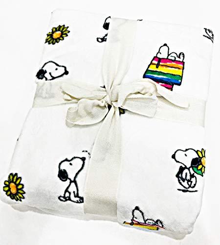 Berkshire Blanket & Home Co. Snoopy & Woodstock Rainbow & Flowers Velvet Soft Plush Throw Blanket