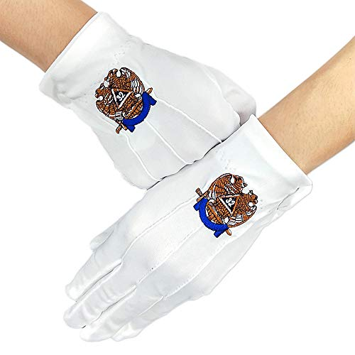 32nd Degree Scottish Rite Masonic White Gloves Polyester