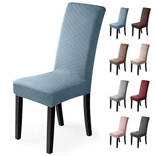 BalladHome Fundas para sillas 4 Piezas Jacquard Funda de Silla Elástica Fundas elásticas Extraíbles y Lavables Comedor Cubierta de Asiento Duradera Modern Boda Decor Restaurante(Azul, Paquete de 4)