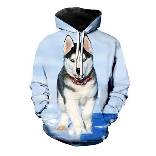 Divertido lindo siberiano Husky Dogs Sudadera con capucha 3D Animal Print Mujeres Hombres Sudaderas Sudadera Hip Hop Streetwear
