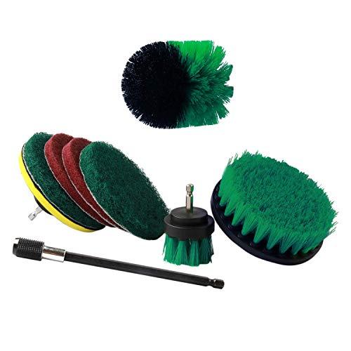 Fltaheroo Juego de 9 cepillos de taladro con extensión de 6 pulgadas de largo alcance para limpiar el baño, cocina, jardín, piso, bañera, herramienta para barbacoa, automoción