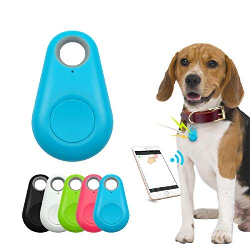 Pet Smart GPS Tracker Mini Anti-Lost Waterproof Bluetooth Locator Tracer for Pet Dog Cat Kids Car Wallet Key Collar Accessories (Blue)