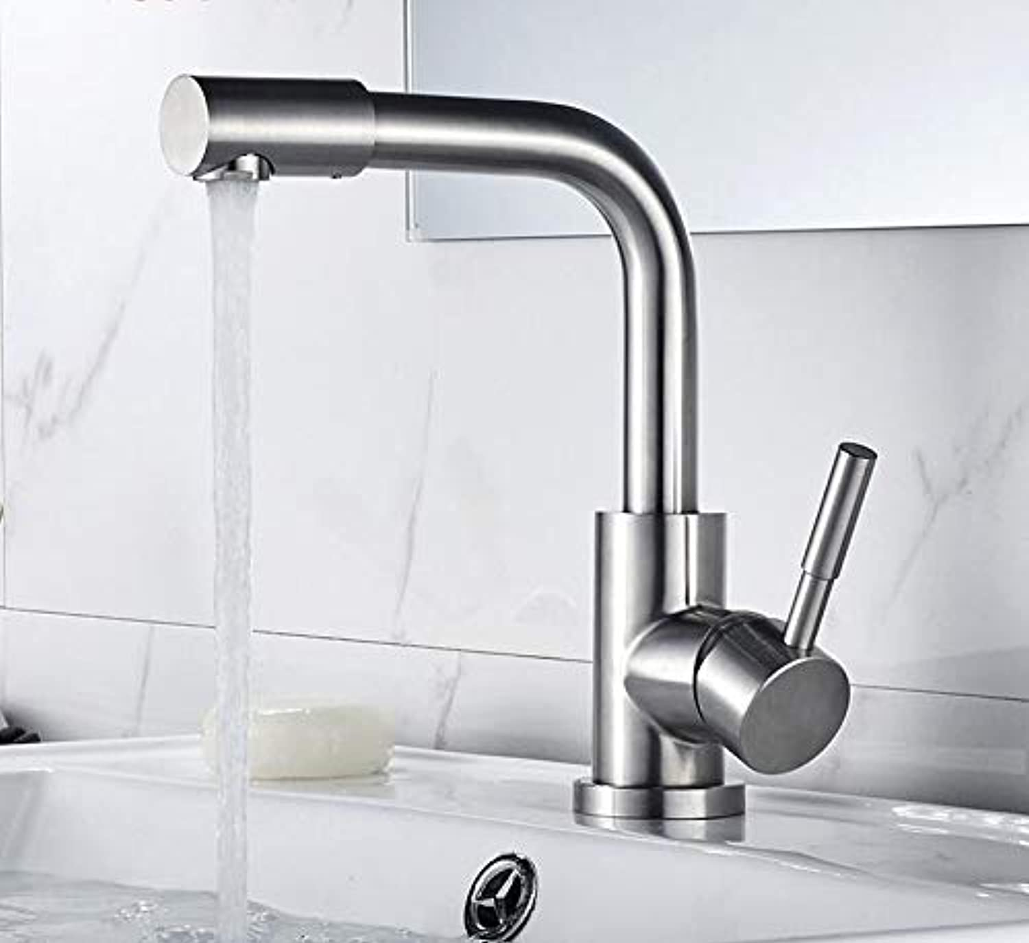 Makej Basin Faucet Stainless Steel 304 Right Angle Basin Faucets Mixers Sink Tap Wall Faucet Modern Hot and Cold Water