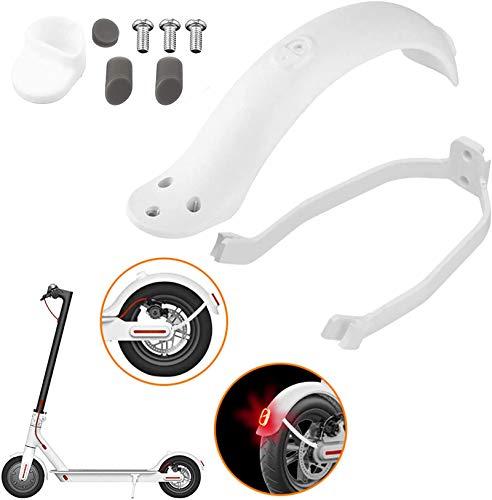 Guardabarros Trasero para Scooter Soporte de Trasero y Luz Trasera de Luz Trasera para Xiaomi M365/ M365 Pro Accesorio de Repuesto de Scooter con Tornillos y Tapones de Rosca (Blanco)