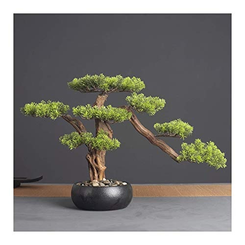 SBDLXY Artificial Potted Plants 14.2in. Cedar Bonsai Plant Faux Bonsai Tree Simulation Potted Plant DIY Decorative Bonsai Pot for Home, Office, Shop Artificial Tree