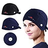 NOVWANG 2 PCS Head Covers for Women Men Adjustable Working Caps with Buttons and Cotton Sweatband, One Size(Black+Dark Blue)