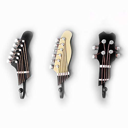 OFKPO 3 Pcs Ganchos con Formas de clavijero de Guitarra y Ukelele para la Pared, para Colgar Abrigos, Ropas, Bolsas, etc
