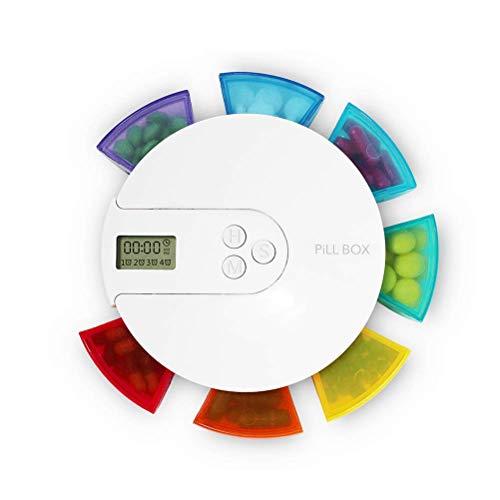 LUCKYFF Dispensador Pastillero electronico automatico Plástico Portátil para Viajes Uso Diario con Tiempo Alarma