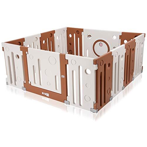 Baby Vivo Laufgitter Laufstall Baby Absperrgitter Krabbelgitter Schutzgitter für Kinder aus Kunststoff mit Tür und Spielzeug 14 Elemente in Creme - Charly erweiterbar