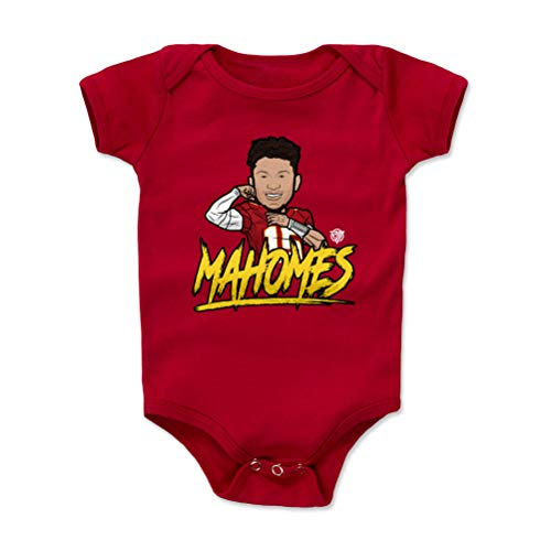 1UP Sports Marketing Pat Mahomes Kansas City Football Baby Clothes, Onesie, Creeper, Bodysuit (6-12 Months, Red) - Patrick Mahomes Flex WHT