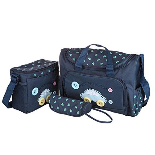 4PcsWickeltasche Pflegetasche Kinderwagen Muttertasche Babytasche Mama Tote Baby-Windel Nappie Wickeltaschen Sets Dunkelblau - Deep Blue