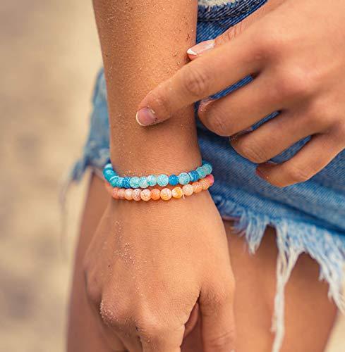 Made by Nami Chakra Yoga Armband 2er Set Damen & Herren - 6mm Perlen-Armband aus dem Zen-Buddhismus für Familie und Freunde - Tantrische-Schutzwirkung, Glücksbringer, Talisman (Türkis & Orange)