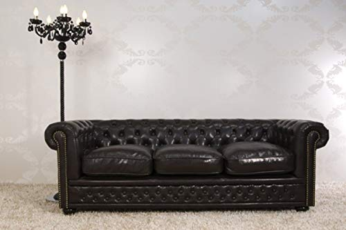 Casa Padrino Chesterfield 3-Seater Dark Brown Designer Furniture - 11222 - Vintage Style Lounge