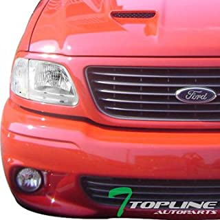 Topline Autopart Chrome Clear Housing Headlights with Signal Parking Corner Lamps K2 For 97-03 Ford F150 / 97-02 Expedition