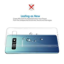 KOFOHO Coque Galaxy S10, Silicone Transparent TPU Souple Housse, Anti-Rayures, Anti-Dérapante Protection Case Cover pour Galaxy S10 – Transparent
