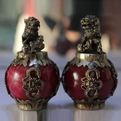 EASTCODE Tibet Silver Red Jade Dragon Phoenix Ball Foo...