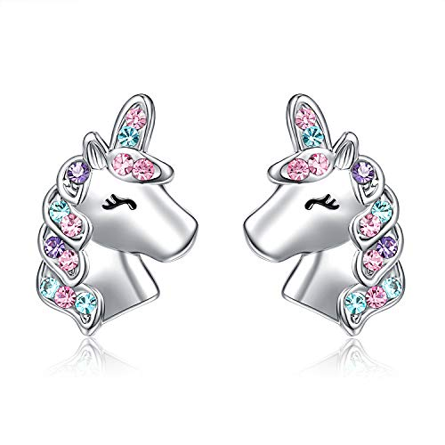 UNGENT THEM Silver Unicorn Stud Earrings for Little Girls Hypoallergenic CZ Unicorn Lovely Gifts for Daughter Birthday Party