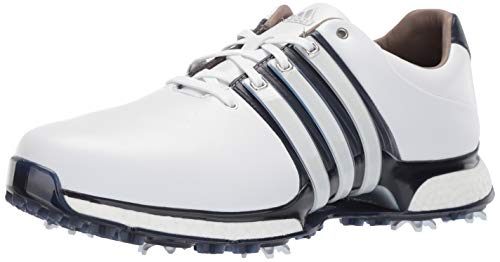 adidas Men's TOUR360 XT Golf Shoe, FTWR White/Collegiate Navy/Silver Metallic, 9 W US