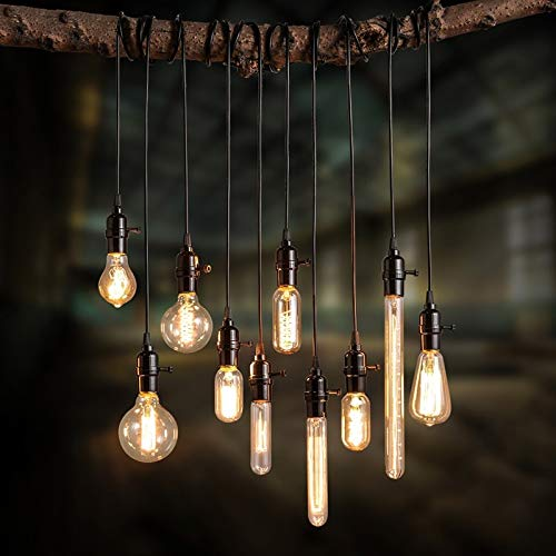 Lovedima Vintage Industrial Loft Exposed Edison Bulb Style Light Socket, Mini Pendant 1-Light Lamp Holder with Round Hanging Light Cord, Black