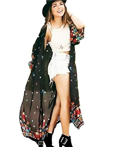 Uniquestyle Damen Sommer Kimono Cardigan Strand Chiffon Bluse Tops Boho Bikini Cover Up Schwarz One Size