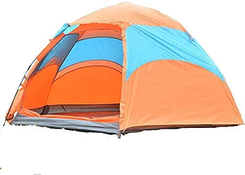 JSL Tienda de campaña Caminata Vertical al aire libre Camping Espacio Independiente 3-5 Personas Multifunción Big Tent Camping Parque de playa (naranja/azul)