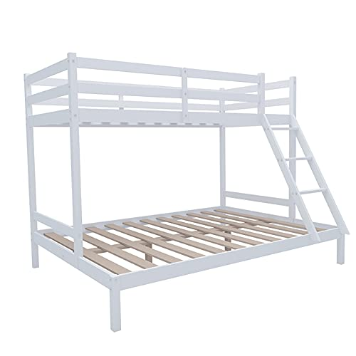 Asolym Triple Sleeper Bunk Beds With Ladder 3FT Single 4.8FT Double triple bunk bed Solid Pine Wood Bed Frame available in White Grey, 198 x 144 x 144 cm, Perfect For Children, School, Bedroom,White