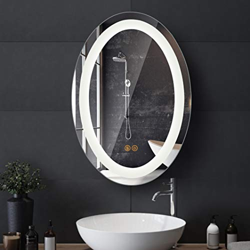 Anti-Fog LED Bathroom Mirror, Oval Bright Wall Mounted Bathroom LED Mirror, Bright LED Illuminated Backlit Dimmable Vanity Mirror with Lights, 18' x 26'