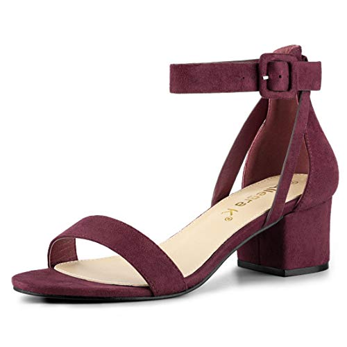 Allegra K Women's Ankle Strap Block Low Heel Burgundy Sandals - 8 M US