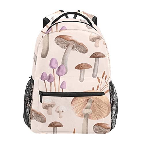 Zainetto a forma di funghi per scuola, college, viaggi, escursionismo, stile casual, per computer portatile, in tela