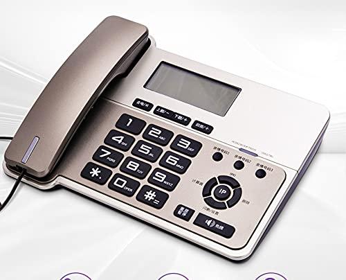 ELKeyko Teléfonos con Cable de Oficina con Cable de Escritorio con Cable teléfono Fijo con llamantes IDENTIFICACIÓN, Retroiluminación Anaranjada, Alarma, Altavoz de Soporte (Color : Gold)
