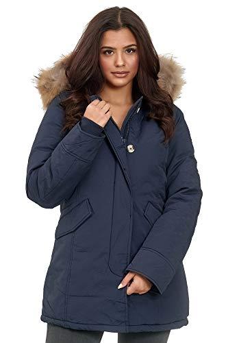 Elara Damen Winterparka Echt Fell Jacke Mantel Blau Chunkyrayan XH-227-55 Navy 40/L