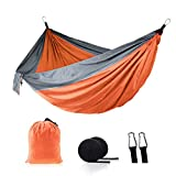 Camping Hammock , Outdoor Portable Single and Double Widened Hammocks, Nylon Parachute Material, Suitable for Outdoor, Beach, Courtyard, Travel, Perfect Equipment (Orange & Gray)