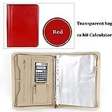CBVG A4 Calculadora de Carpeta de Negocios de Cuero Cremallera Bolsa Portatarjetas de Negocios Bloc de Notas Bloc de Notas de Hojas Sueltas, C Rojo