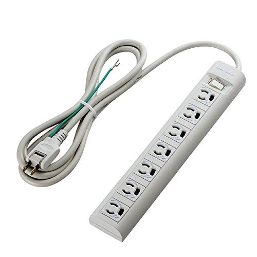 エレコム 電源タップ 雷ガード 一括スイッチ マグネット付き 抜け止めコンセント 3P 7個口 2m T-Y3A-3720WH