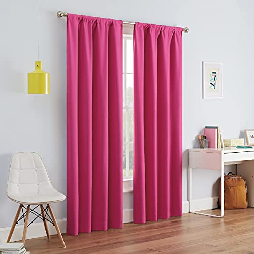 """ECLIPSE Kendall Solid Blackout Window Curtains for Bedroom (Single Panel), 42"""" x 63"""", Raspberry"""