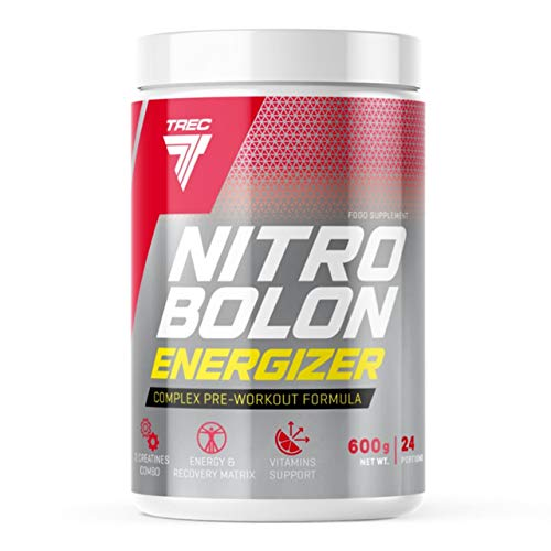 Trec Nutrition Nitrobolon Energizer Package of 1 x 600g – Pre Workout – Creatine – Amino Acid: BCAA Taurine and Arginine – NO Supplement – Caffeine – Energy (Tropical)