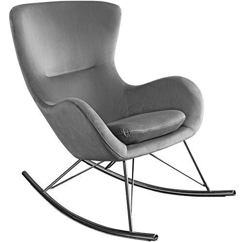 Invicta Interior Design Schaukelstuhl Scandinavia Swing grau Samt Chrom Schwingsessel Relaxsessel Sessel