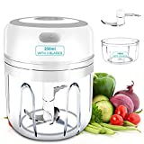 Electric Mini Garlic-Chopper, Rechargeable Electric Garlic Grinder with USB-Charging for Garlic, Onion, Meat, Baby Food, Veggie, Chilli, Gingers, Nut, 2 Cups (250ml+100ml)