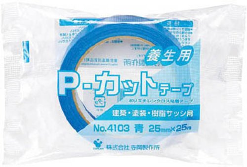 TERAOKA(寺岡) 養生用 P-カットテープ 幅25mmX長さ25m 青 No.4103 [養生テープ・マスキングテープ]
