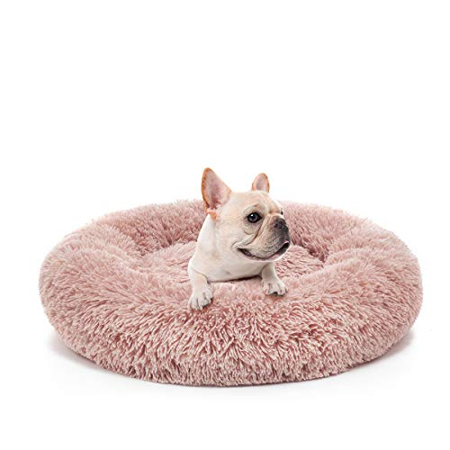 MIXJOY Orthopedic Dog Bed Comfortable Donut Cuddler Round Dog Bed Ultra Soft Washable Dog and Cat Cushion Bed (23''x 23'') (Pink)