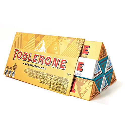 Toblerone Swiss Chocolate Gift Set, Milk Chocolate, White Chocolate & Crunchy Salted Caramelized Almond, 9 - 3.52 oz Bars