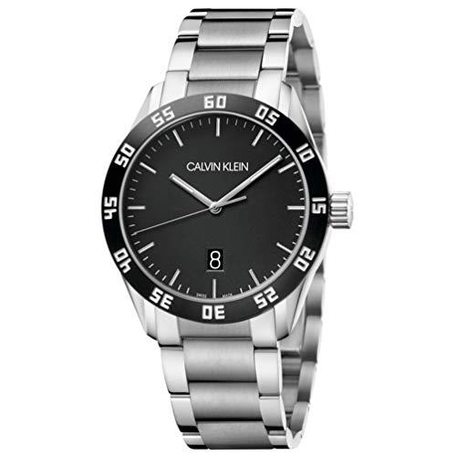Calvin klein Hombre Reloj, de 42 mm de Acero Inoxidable de Caballero Negro Fecha Caso K9R31C41