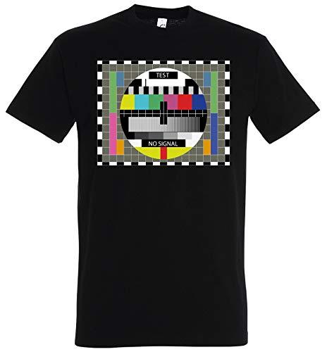 T-Shirt Testbild Fernsehen Big Bang Theory Sheldon Retro TV Nerd Funshirt (Schwarz, L)