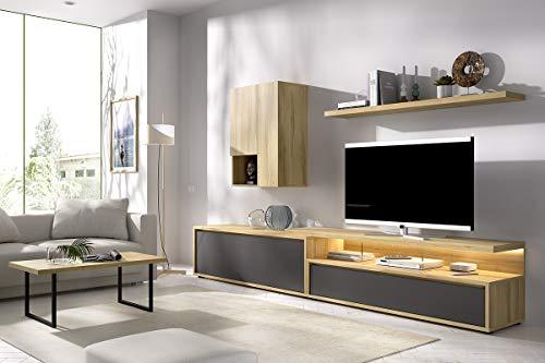 TV-wand Duo 42 inclusief lowboard, wandboard, tv-podium met glazen wangen - benodigde ruimte: 300x45cmm