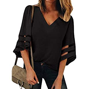 GOSOPIN Ladies Illusion Sleeve Tunic Top Casual Loose Lace Stitching Blouse V Neck Solid Color Pullover Black Size 16 18:Carsblog